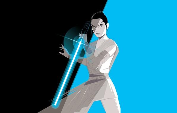 Picture Minimalism, Figure, Star Wars, Sword, Star wars, Power, Art, Art, Ray, Jedi, Craig Drake, Rey, …