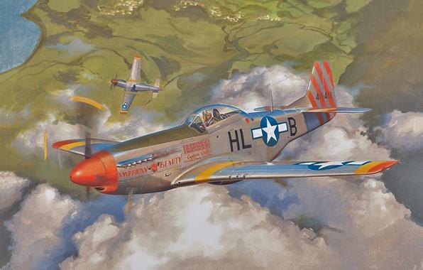 Picture war, art, airplane, aviation, ww2, p51 d mustang