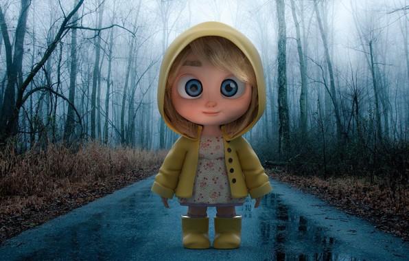 Picture road, the rain, autumn, art, girl, cloak, Rainyday, Tang Chen