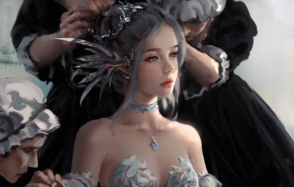 Picture girl, fantasy, dress, blue eyes, lips, face, elf, digital art, artwork, princess, situation, fantasy art, ...