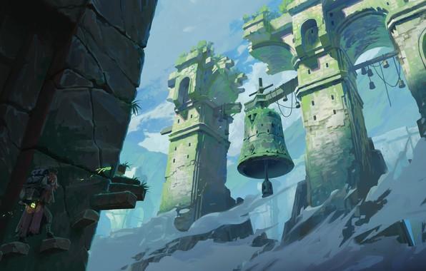Picture fantasy, sky, clouds, man, ruins, digital art, artwork, fantasy art, bell, lantern, stairs, Tower, backpack