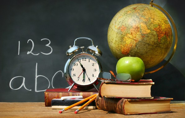 Picture table, watch, books, Apple, pencils, alarm clock, glasses, Board, school, globe, Mel