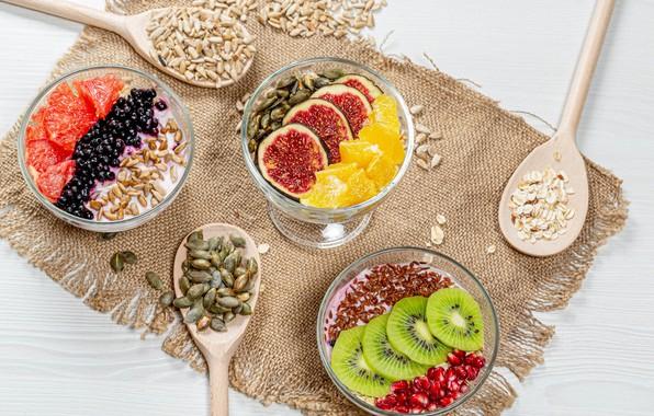 Picture photo, Grain, Berries, Fruit, Spoon, Food, Dessert, products, Yogurt