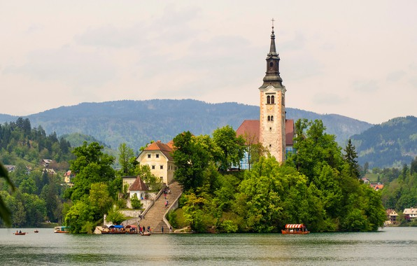 Picture greens, forest, trees, mountains, nature, lake, island, tower, boats, pier, ladder, Church, Slovenia, tourists, Bled