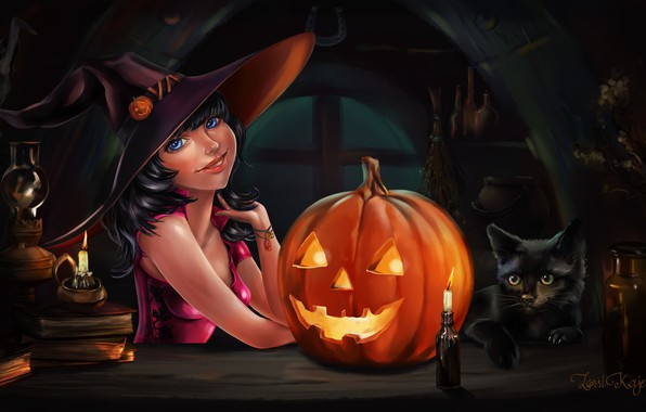 Picture Halloween, hat, cat, blue eyes, holiday, pumpkin, candle, books, black cat, witch, witch hat