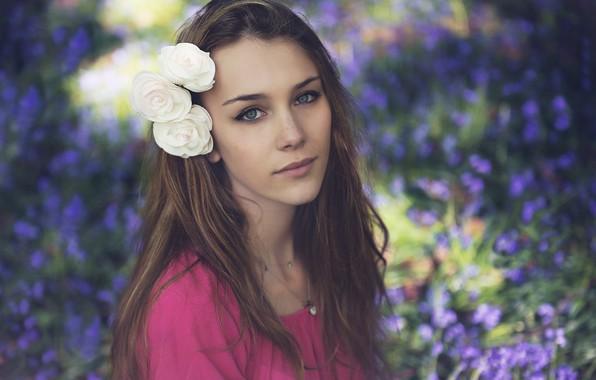 Photo wallpaper flower, look, girl, smile, hair, beautiful