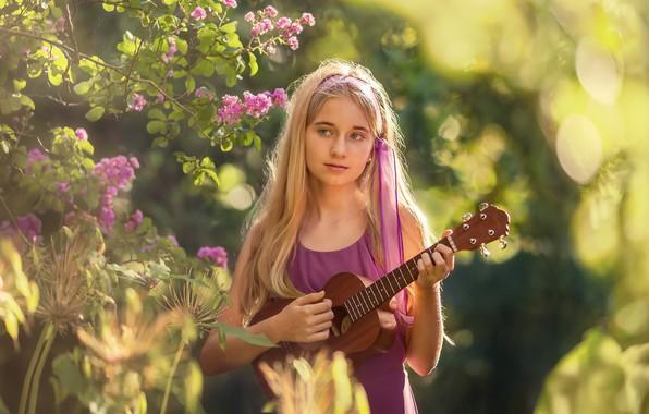 Picture guitar, portrait, girl
