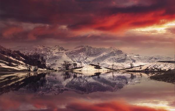 Picture Landscape, Mountain, reflection, sunlight, Fire Pond