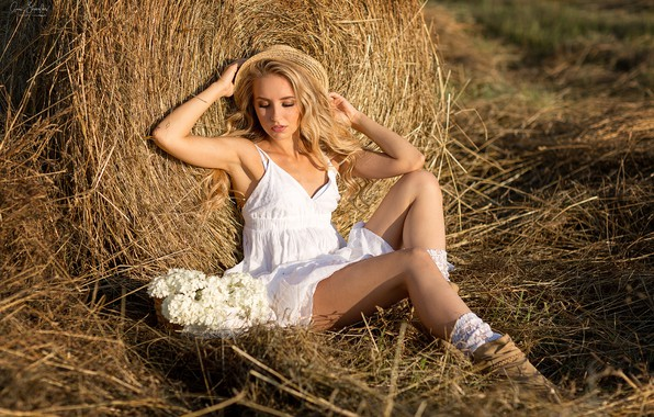 Picture girl, hat, dress, hay, legs, Anna Shuvalova, Christine Wild