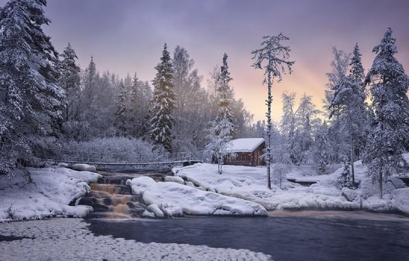 Picture winter, snow, trees, bridge, waterfall, beauty, Karelia