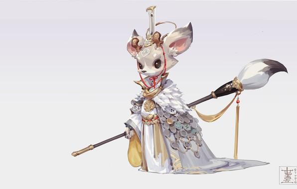 Picture fantasy, art, brush, Queen, children's, M ZM, White Deer