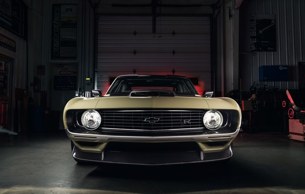 Picture Chevrolet, The hood, 1969, Camaro, Lights, Garage, Chevrolet Camaro, Classic car, Wide Body Kit, Icon, …