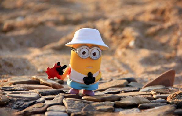 Picture mood, the situation, widescreen, full screen Wallpaper, minion, Mignon with crab, picture toy, the cap …