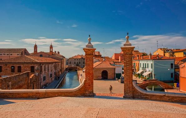 Picture building, home, Italy, channel, bridges, Italy, Comacchio, Comacchio, Trepponti Bridge, Bridge Trepponti