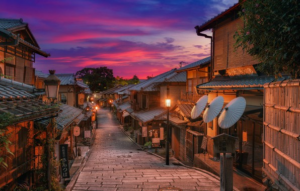 Picture the city, street, home, the evening, Japan, lighting, lights, Kyoto