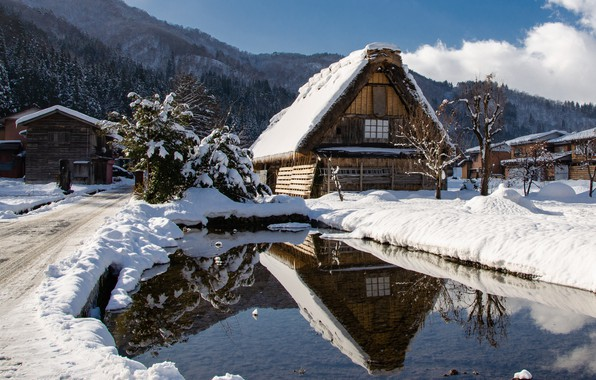 Picture winter, water, clouds, snow, trees, mountains, house, reflection, village, home, Japan, village, Japan, Winter, Houses, …