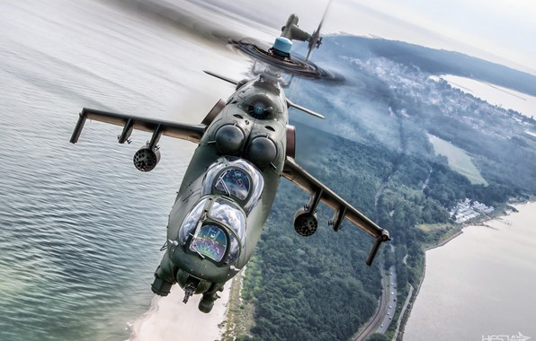 Picture Sea, Braid, Mi-24, Attack helicopter, Cockpit, Polish air force, HESJA Air-Art Photography