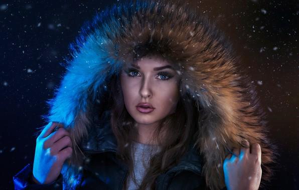 Picture look, girl, face, portrait, hood, fur