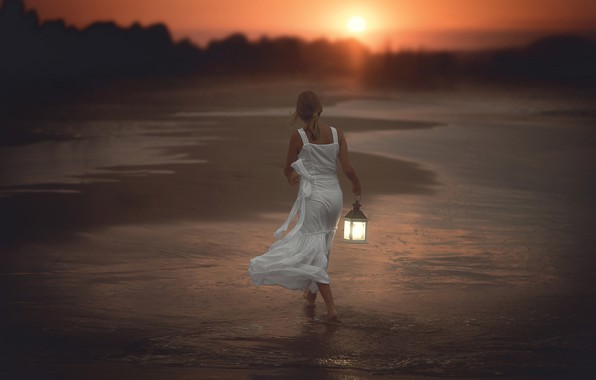 Picture sea, forest, beach, girl, the sun, light, sunset, shore, back, the evening, dress, surf, lantern, …