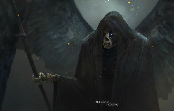 Picture death, skull, art, in the hood, Reaper, burning eyes, black wings, Sawan, Max Duran