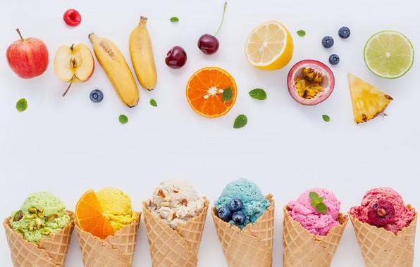 Picture berries, colorful, ice cream, fruit, horn, fruit, berries, ice cream, cone
