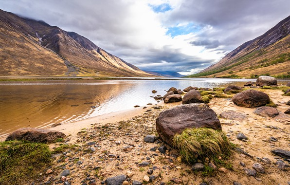 Picture sand, beach, the sky, grass, clouds, mountains, pebbles, lake, river, stones, hills, shore, the slopes, ...