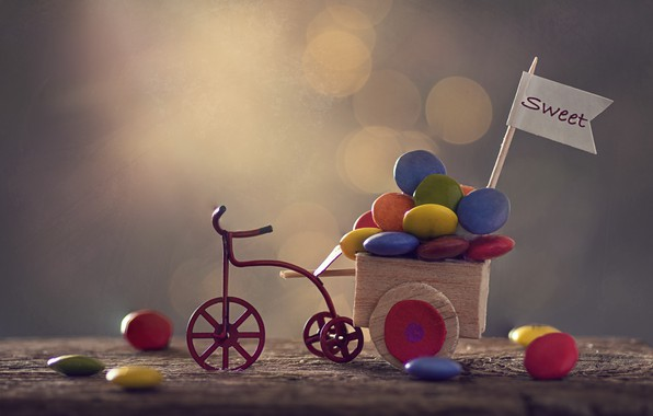 Picture bike, candy, truck, Sweet