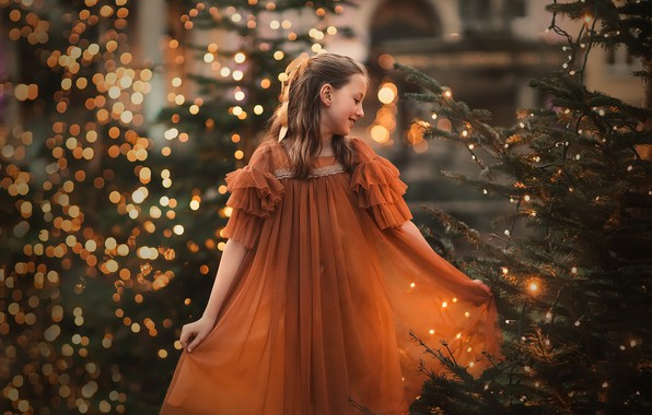 Picture holiday, girl, tree