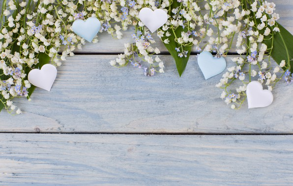 Picture flowers, heart, spring, love, white, lilies of the valley, wood, flowers, romantic, hearts, spring, lily …
