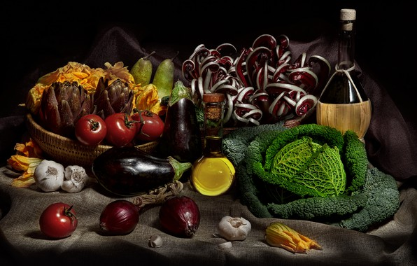 Picture wine, bottle, oil, food, bow, eggplant, black background, still life, vegetables, tomatoes, pear, items, cabbage, …