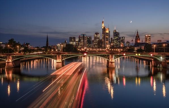 Picture bridge, lights, river, the evening, Germany, skyline, Frankfurt