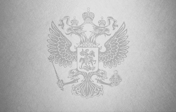 Picture scratches, coat of arms, grey background, Russia