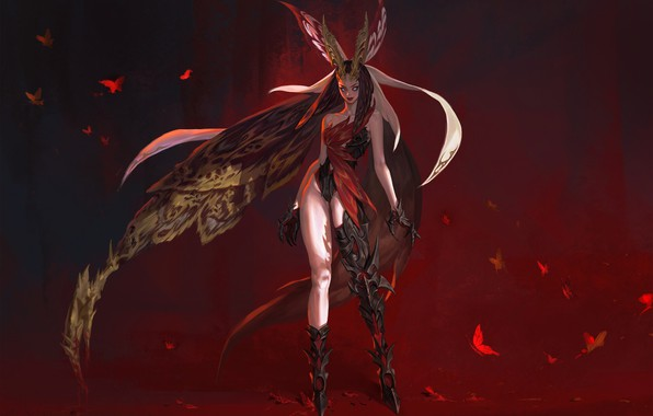 Picture fantasy, butterfly, the game, art, Moth, character, costume design