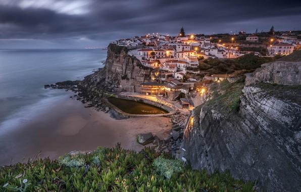 Picture lights, coast, the evening, Portugal, Azenhas do Mar, Sintra