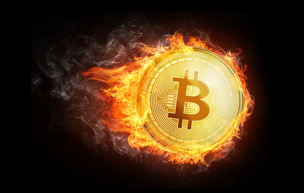 Picture fire, flame, smoke, fire, coin, fon, coin, bitcoin, bitcoin