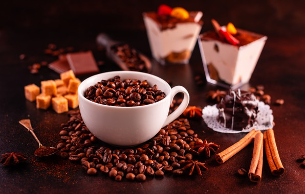 Picture coffee, candy, Cup, cinnamon, dessert, coffee beans, chocolate, spices, Anis