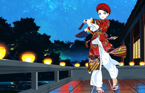 Picture girl, anime, colorful costume