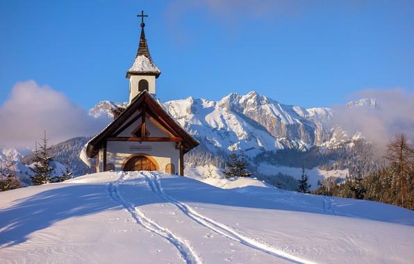 Picture winter, snow, mountains, traces, Austria, chapel