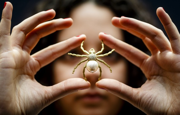 Picture spider, art, fingers, jewelry