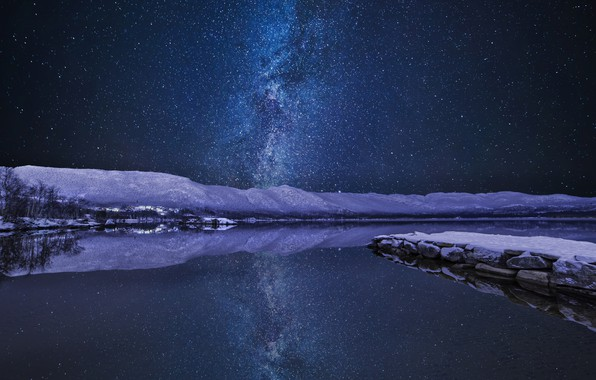 Picture winter, the sky, stars, night, river, the milky way