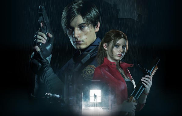 Picture Girl, The game, Gun, Weapons, Guy, Jacket, Form, Claire Redfield, Leon Kennedy, Resident evil 2