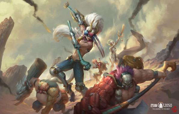 Picture fantasy, art, battle, Battle, jinhao yang