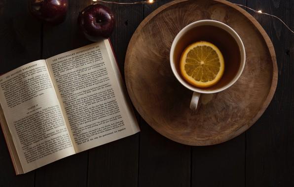 Picture table, lemon, tea, Apple, mug, book, garland, Joanna Kosinska