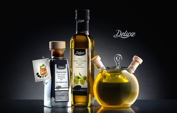 Picture the inscription, olive oil, Deluxe