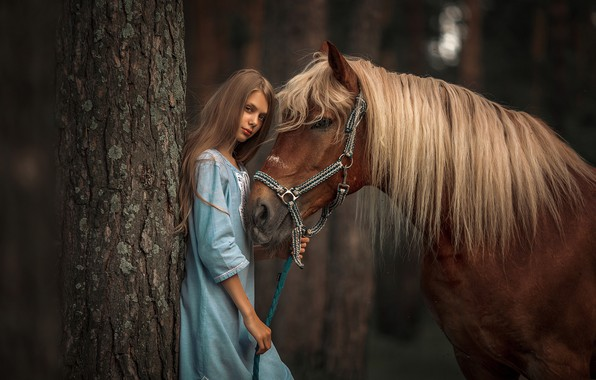 Photo wallpaper look, tree, horse, horse, dress, mane, girl