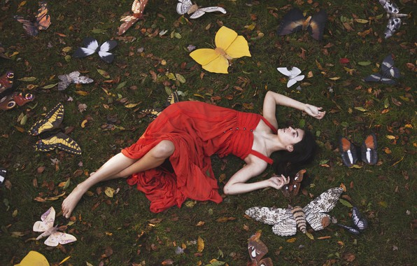 Picture girl, butterfly, pose, red dress