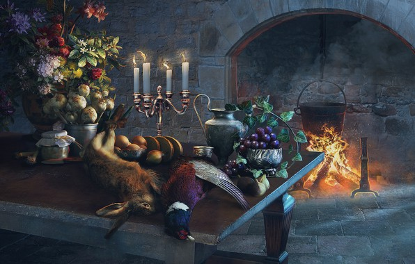 Picture flowers, table, hare, bouquet, candles, fireplace, painting, garlic, pheasant