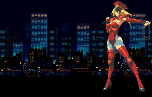 Picture girl, city, the city, home, skyscrapers, uniform, whip, Bare Knuckle, streets of rage