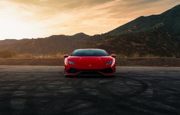 Picture mountains, red, front view, Lamborghini Huracan