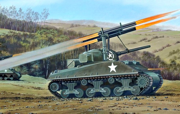 Picture US Army, MLRS, WWII, M4A3 Sherman, Sherman Calliope, T34 Rocket Launcher
